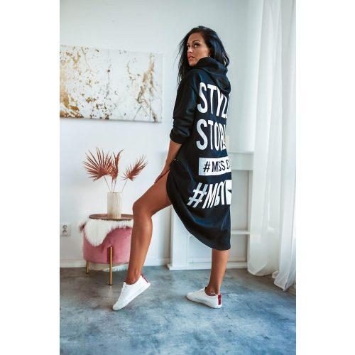 STYLE kapucnis pulóver-fekete