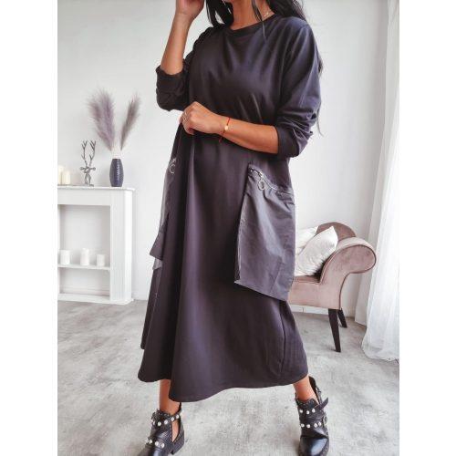 Zsebes oversize ruha-fekete