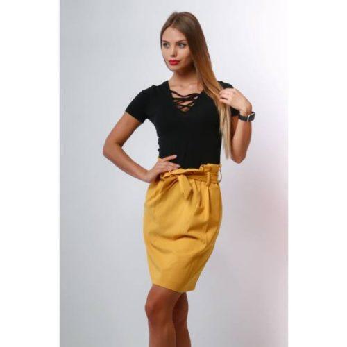 Mustár színű mini szoknya