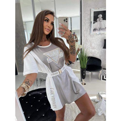 LUXURY LOLA ezüst-fehér miniruha